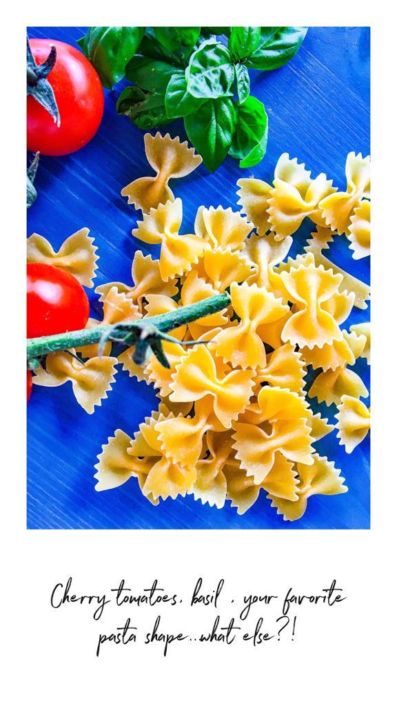 Cherry tomatoes, basil, pasta recipe