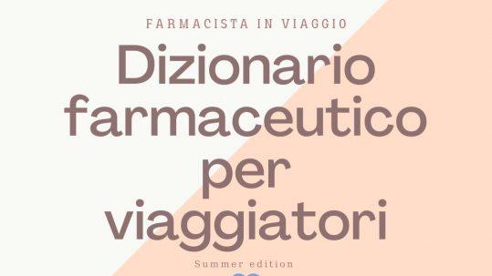 grafica con scritta dizionario farmaceutico per viaggiatori