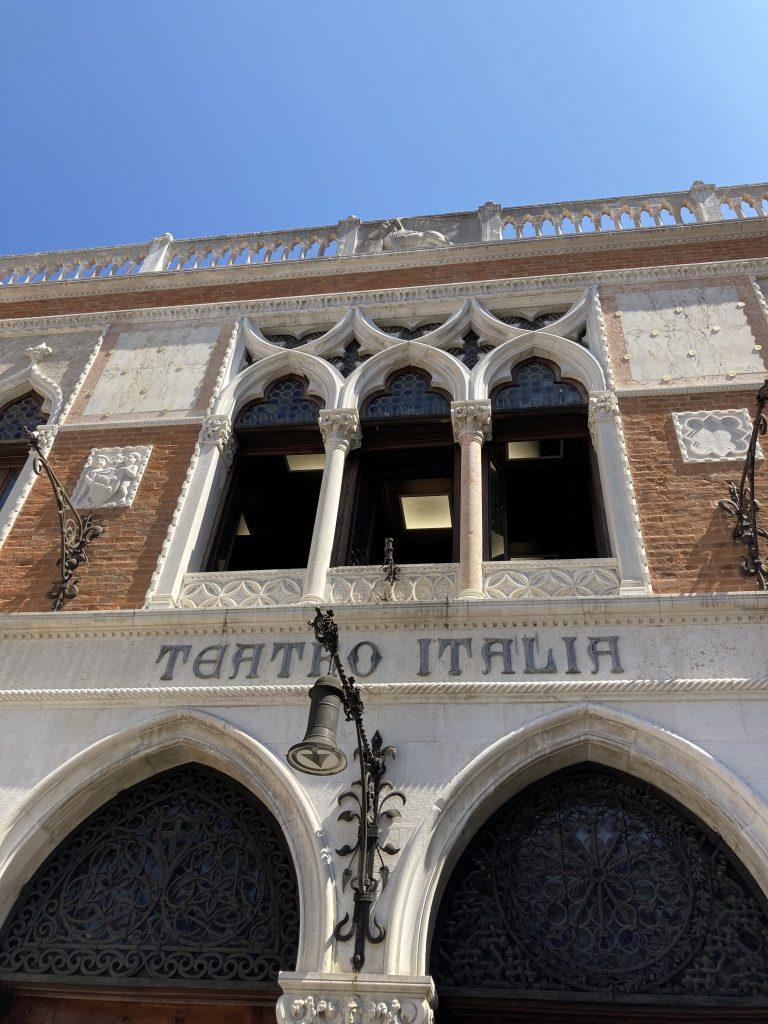 windows of an antique theatre in Venice