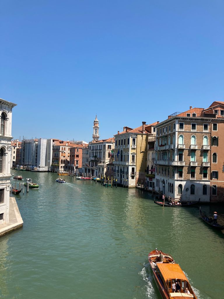 view of the gran canal from Rialto Bridge